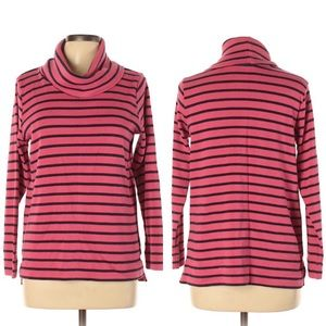 LL Bean pink and navy stripe turtleneck sweater